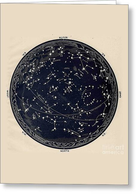 Antique Map Of The Night Sky, 19th Century Astronomy Greeting Card by Tina Lavoie