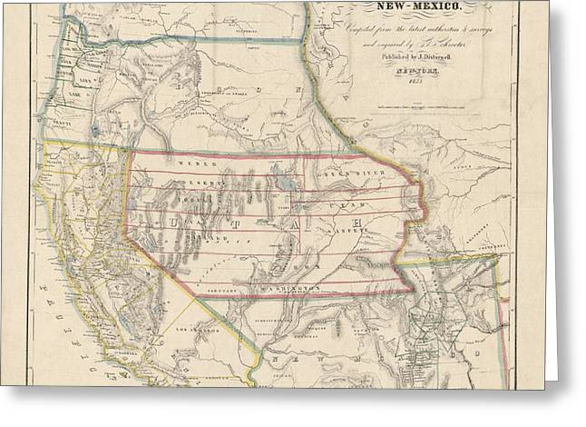 Antique Map Of The Western United States By John Disturnell - 1853 Greeting Card by Blue Monocle