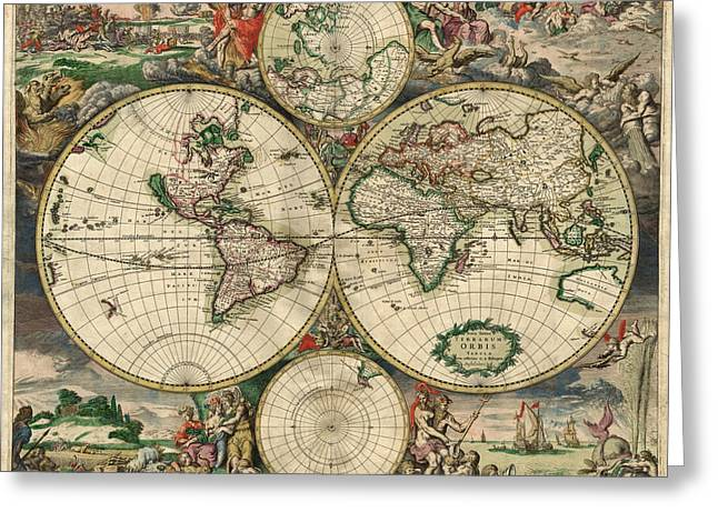 Antique Map Of The World - 1689 Greeting Card by Marianna Mills