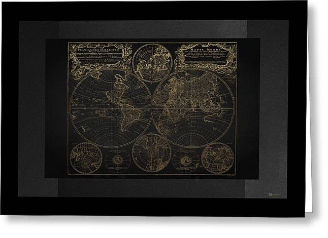 Antique Map Of The World - Gold On Black Canvas Greeting Card by Serge Averbukh