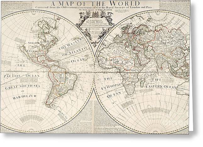 Antique Map Of The World Greeting Card