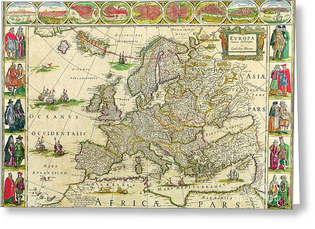 Antique Maps Of The World Map Of Europe Willem Blaeu C 1650 Greeting Card