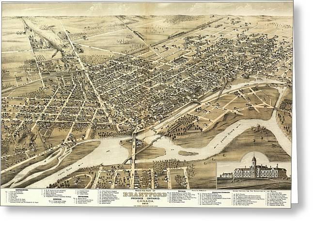 Antique Maps - Old Cartographic Maps - Antique Birds Eye View Map Of Brantford, Canada, 1875 Greeting Card