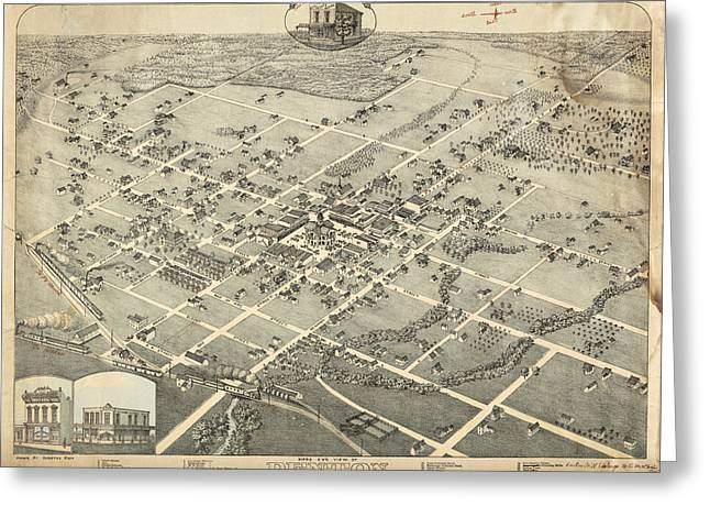 Antique Maps - Old Cartographic Maps - Antique Birds Eye View Map Of Denton, Texas, 1883 Greeting Card