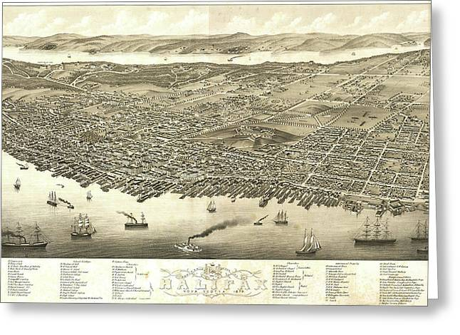 Antique Maps - Old Cartographic Maps - Antique Birds Eye View Map Of Halifax, Nova Scotia, 1879 Greeting Card