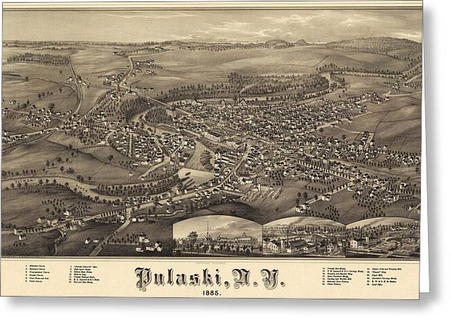 Antique Maps - Old Cartographic Maps - Antique Birds Eye View Map Of Pulaski, Tennessee, 1885 Greeting Card