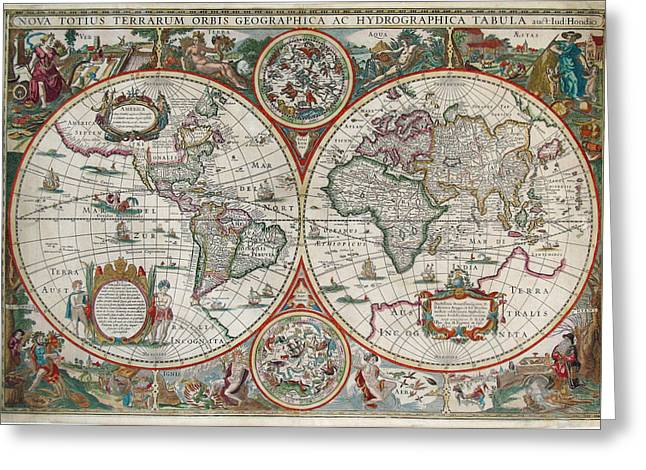 Antique Maps - Old Cartographic Maps - Antique Map Of The World In Latin Greeting Card
