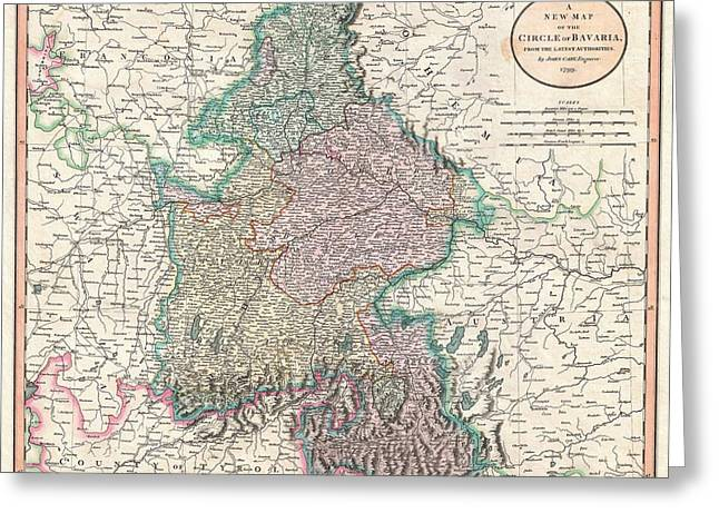 Antique Maps - Old Cartographic Maps - Antique Map Of Bavaria, Salzburg, Germany - 1799 Greeting Card