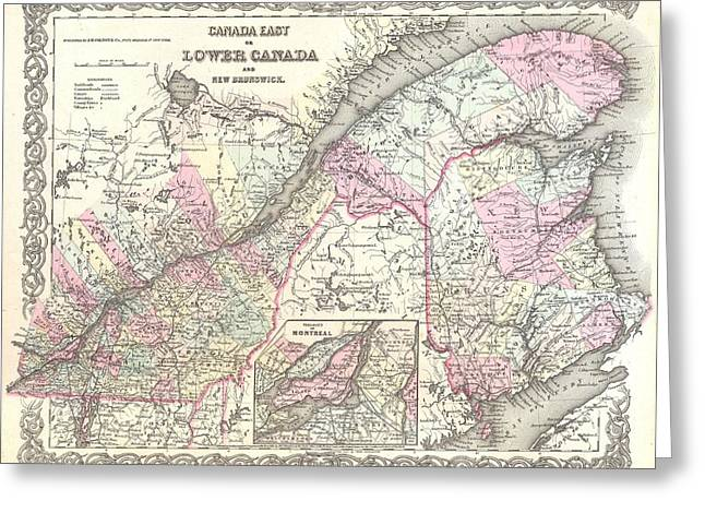 Antique Maps - Old Cartographic Maps - Antique Map Of Canada East And Quebec, 1855 Greeting Card