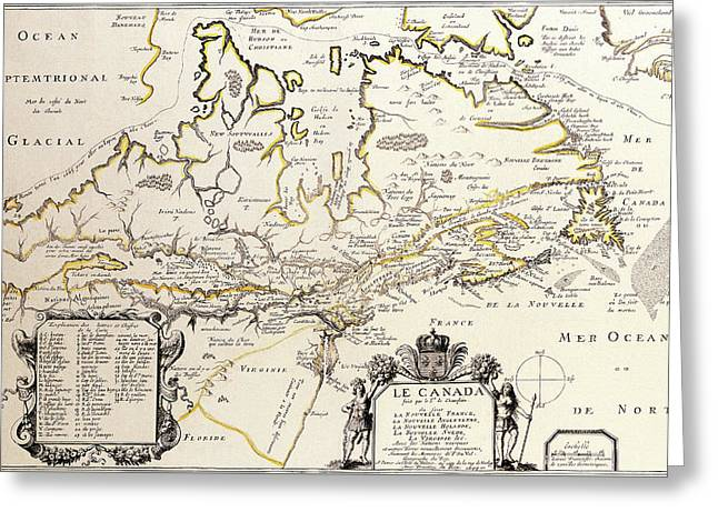 Antique Maps - Old Cartographic Maps - Antique Map Of Canada Greeting Card