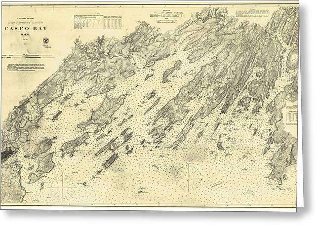 Antique Maps - Old Cartographic Maps - Antique Map Of Casco Bay, Maine, 1870 Greeting Card