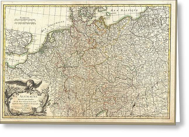Antique Maps - Old Cartographic Maps - Antique Map Of Germany And Poland, 1771 Greeting Card