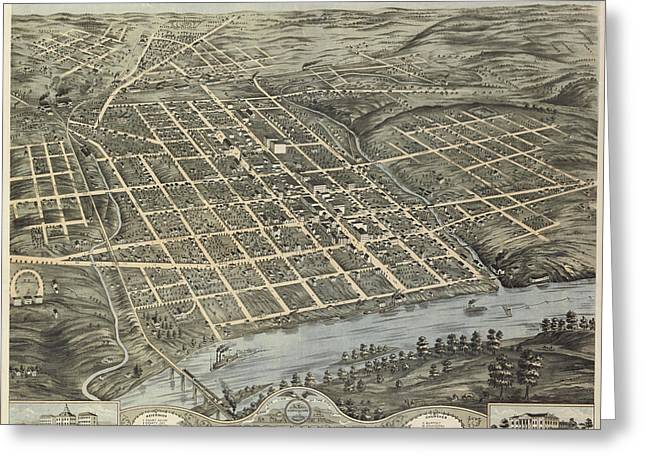 Antique Maps - Old Cartographic Maps - Antique Map Of Knoxville, 1871 Greeting Card