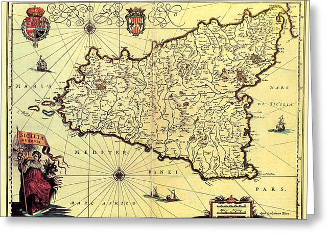 Antique Maps - Old Cartographic Maps - Antique Map Of Sicily, Italy Greeting Card