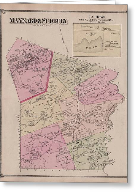 Antique Maps - Old Cartographic Maps - Antique Map Of Sudbury, Canada, 1875 Greeting Card