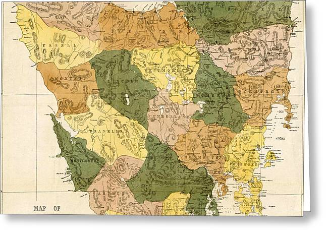 Antique Maps - Old Cartographic Maps - Antique Map Of Tasmania, 1870 Greeting Card