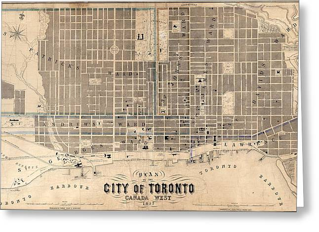 Antique Maps - Old Cartographic Maps - Antique Map Of The City Of Toronto, Canada, 1857 Greeting Card