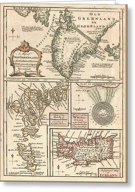 Antique Maps - Old Cartographic Maps - Antique Map Of The North Atlantic Islands, Greenland, 1747 Greeting Card