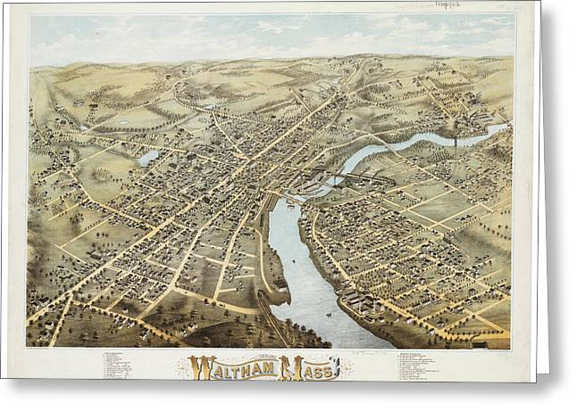 Antique Maps - Old Cartographic Maps - Antique Map Of Waltham Massachusetts, 1877 Greeting Card