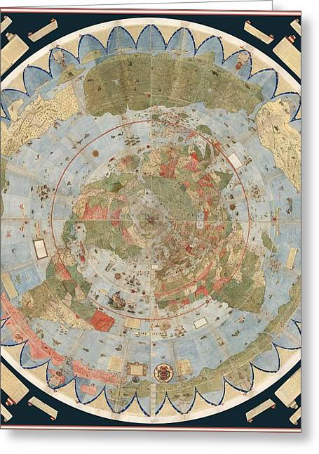 Antique Maps - Old Cartographic Maps - Flat Earth Map - Map Of The World Greeting Card