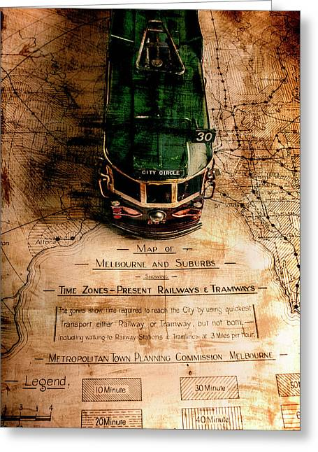 Antique Melbourne Travel Map Greeting Card