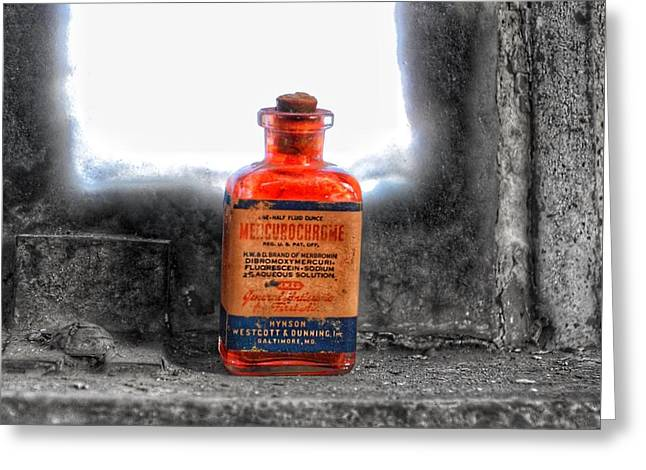 Antique Mercurochrome Hynson Westcott And Dunning Inc. Medicine Bottle - Maryland Glass Corporation Greeting Card