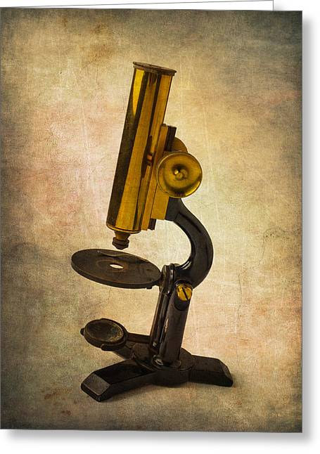 Antique Micrscope Greeting Card by Garry Gay