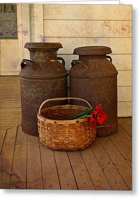 Antique Milk Cans On Porch Greeting Card by Carmen Del Valle