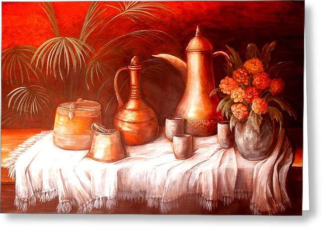 Antique Moroccan Pots Still Life Greeting Card