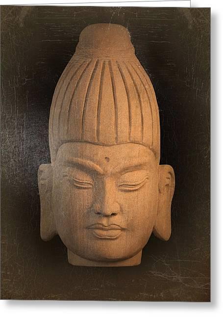 antique oil effect Buddha Burmese Greeting Card by Terrell Kaucher