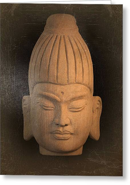 Tranquil Sculptures Greeting Cards - antique oil effect Buddha Burmese Greeting Card by Terrell Kaucher