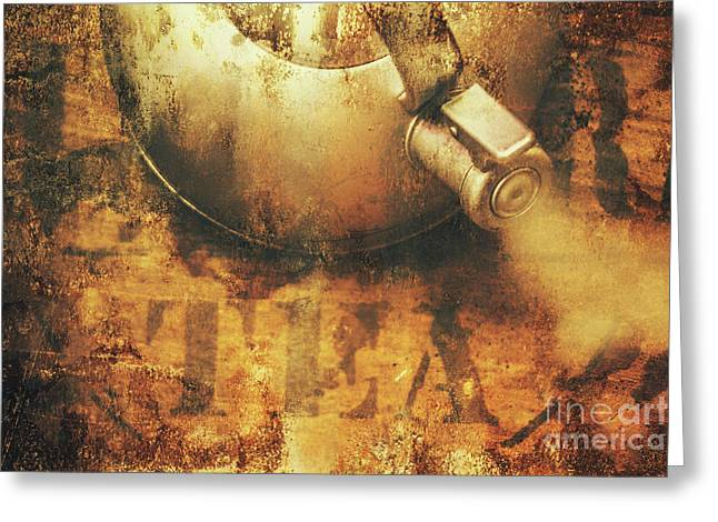 Antique Old Tea Metal Sign. Rusted Drinks Artwork Greeting Card by Jorgo Photography - Wall Art Gallery