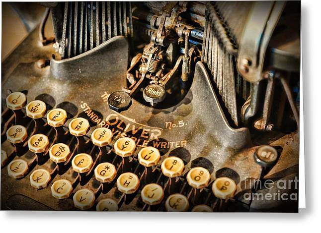 Antique Oliver Typewriter Greeting Card by Paul Ward
