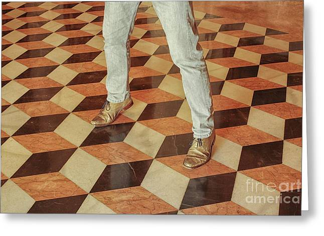 Greeting Card featuring the photograph Antique Optical Illusion Floor Tiles by Patricia Hofmeester