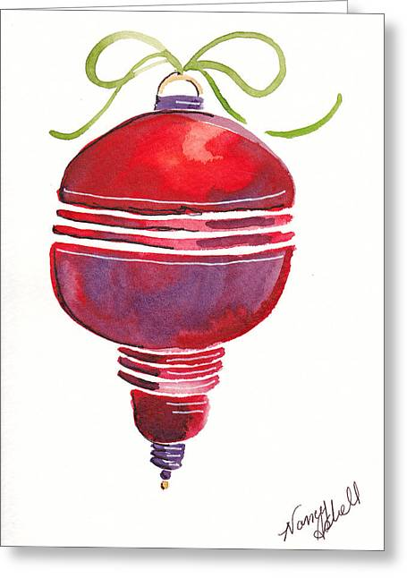Antique Ornament In Red Greeting Card by Michele Hollister - for Nancy Asbell