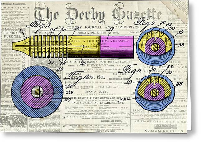Antique Pen, Colorful Patent Drawing, Yellow And Magenta, On Newspaper Greeting Card