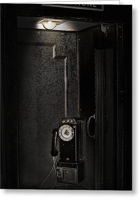 Antique Phone Booth - Lagoon Amusement Park Utah Greeting Card by Steve Ohlsen