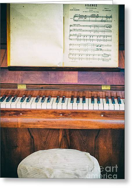 Greeting Card featuring the photograph Antique Piano And Music Sheet by Silvia Ganora