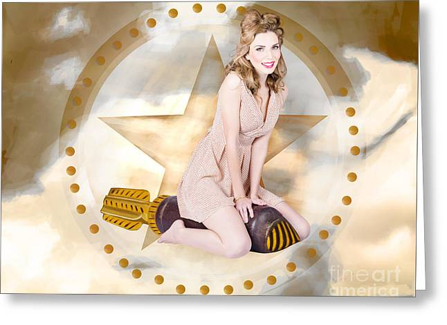 Antique Pin-up Girl On Missile. Bombshell Blond Greeting Card