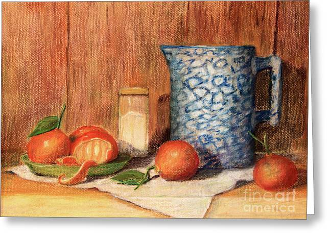 Antique Pitcher With Tangerines Greeting Card by Pattie Calfy