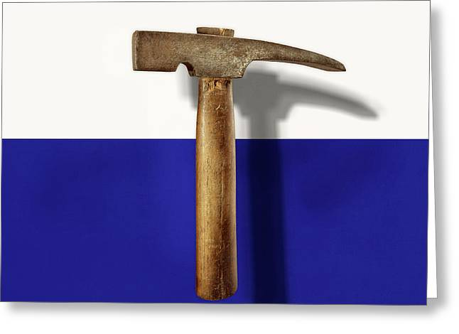Antique Plumb Masonry Hammer On Color Paper Greeting Card