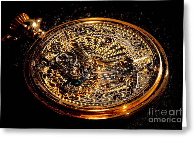 Antique Pocket Watch Open Case Greeting Card
