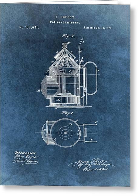 Antique Police Lantern Illustration Greeting Card