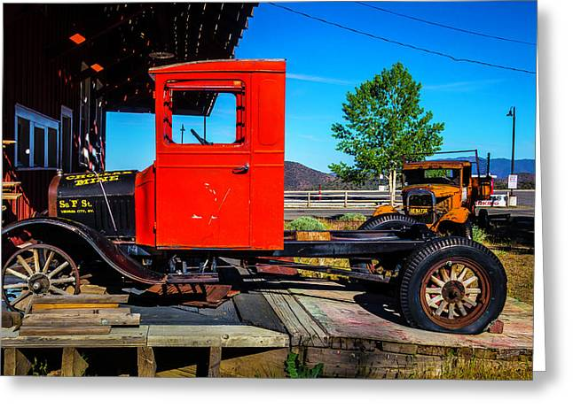 Antique Red Truck Greeting Card