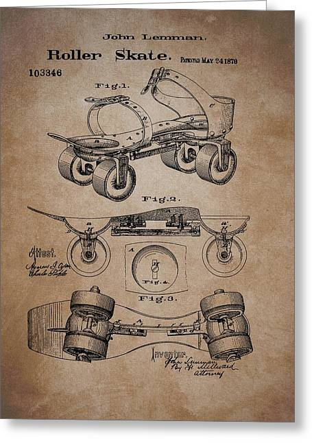 Antique Roller Skates Patent Greeting Card by Dan Sproul