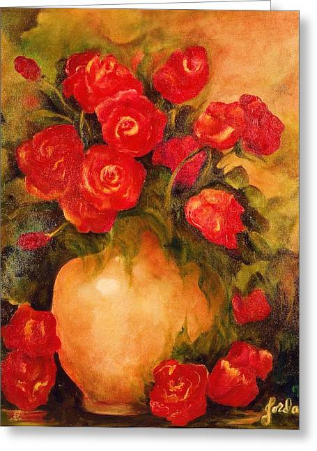 Antique Roses Greeting Card by Jordana Sands