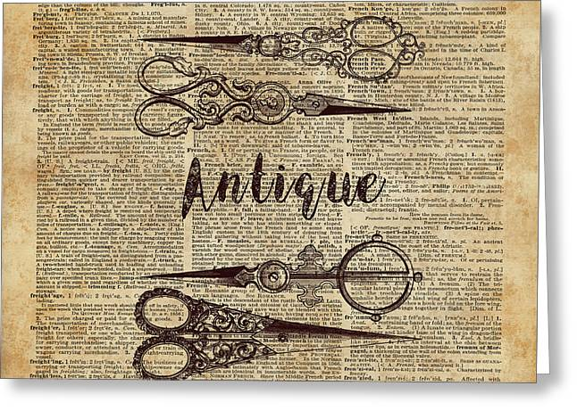 Antique Scissors Old Book Page Design Greeting Card by Jacob Kuch