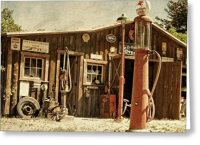 Antique Service Station Greeting Card
