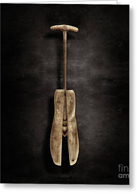 Antique Shoe Stretcher On Black Greeting Card by YoPedro