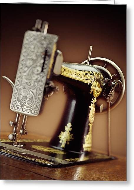 Antique Singer Sewing Machine 2 Greeting Card by Kelley King